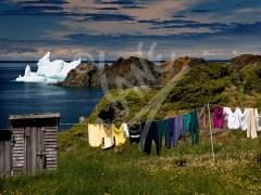 Twillingate, iceberg, outlouse & clothesline